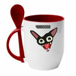 Кружка с керамической ложкой Чипсеки кот мем