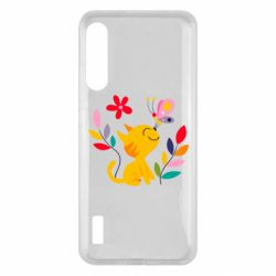 Чохол для Xiaomi Mi A3 Cat, Flowers and Butterfly