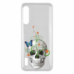 Чохол для Xiaomi Mi A3 Skull and green flower