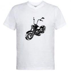 Мужская футболка  с V-образным вырезом Чопер - FatLine