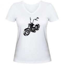 Женская футболка с V-образным вырезом Чопер - FatLine