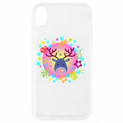 Чехол для iPhone XR Christmas ball with a deer and decorations