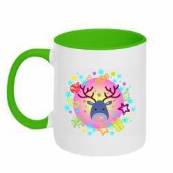 Кружка двухцветная 320ml Christmas ball with a deer and decorations