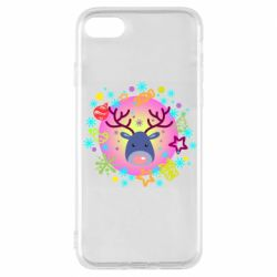 Чехол для iPhone 7 Christmas ball with a deer and decorations