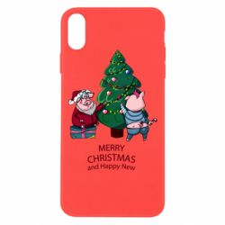 Чохол для iPhone Xs Max Christmas pigs decorate spruce