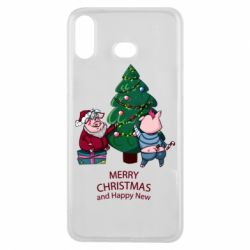 Чохол для Samsung A6s Christmas pigs decorate spruce
