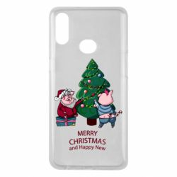 Чохол для Samsung A10s Christmas pigs decorate spruce