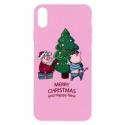 Чохол для iPhone X/Xs Christmas pigs decorate spruce