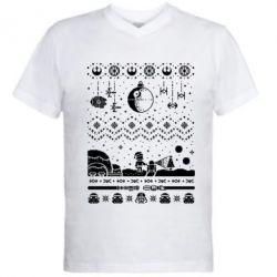 Мужская футболка  с V-образным вырезом Christmas pixels, Star Wars