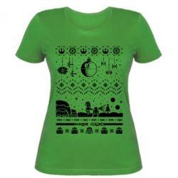 Женская футболка Christmas pixels, Star Wars