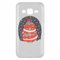 Чехол для Samsung J2 2015 Christmas Sweet Penguin