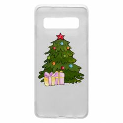 Чехол для Samsung S10 Christmas tree and gifts art