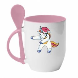Кружка з керамічною ложкою Christmas Unicorn
