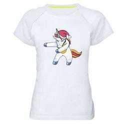 Жіноча спортивна футболка Christmas Unicorn