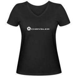 Женская футболка с V-образным вырезом Chrysler Logo - FatLine