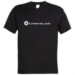 Мужская футболка  с V-образным вырезом Chrysler Logo - FatLine