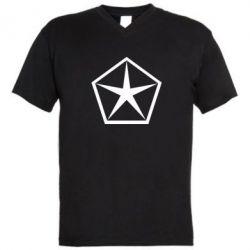 Мужская футболка  с V-образным вырезом Chrysler Star - FatLine