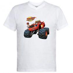 Купить Мужская футболка с V-образным вырезом Чудо-машинки. Вспыш., FatLine