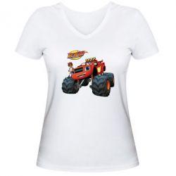 Женская футболка с V-образным вырезом Чудо-машинки. Вспыш.