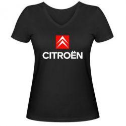 Женская футболка с V-образным вырезом CITROEN 2 - FatLine