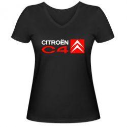 Женская футболка с V-образным вырезом CITROEN C4 - FatLine