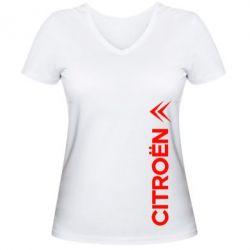 Женская футболка с V-образным вырезом Citroen Vert - FatLine