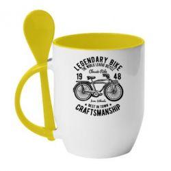 Кружка з керамічною ложкою Classic Bicycle