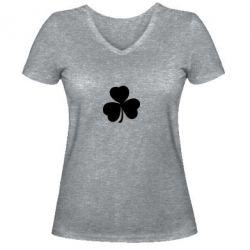 Женская футболка с V-образным вырезом Clover