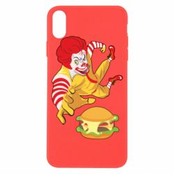 Чехол для iPhone X/Xs Clown in flight with a burger