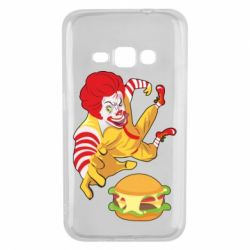 Чехол для Samsung J1 2016 Clown in flight with a burger