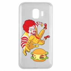 Чехол для Samsung J2 2018 Clown in flight with a burger