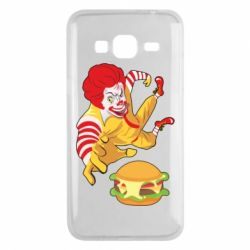 Чехол для Samsung J3 2016 Clown in flight with a burger