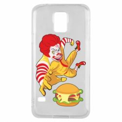 Чехол для Samsung S5 Clown in flight with a burger