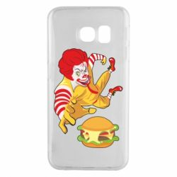Чехол для Samsung S6 EDGE Clown in flight with a burger
