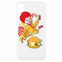 Чехол для iPhone XR Clown in flight with a burger