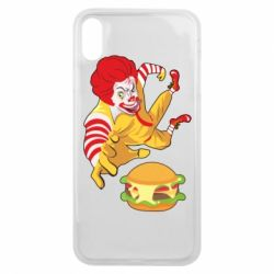 Чехол для iPhone Xs Max Clown in flight with a burger