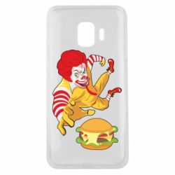 Чехол для Samsung J2 Core Clown in flight with a burger