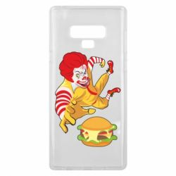 Чехол для Samsung Note 9 Clown in flight with a burger
