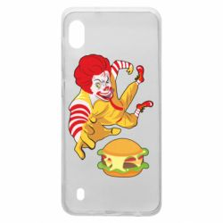 Чехол для Samsung A10 Clown in flight with a burger