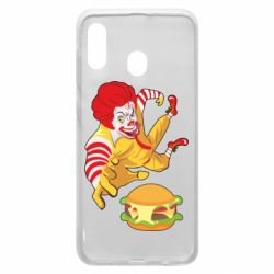 Чехол для Samsung A20 Clown in flight with a burger