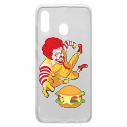 Чехол для Samsung A30 Clown in flight with a burger