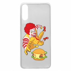 Чехол для Samsung A70 Clown in flight with a burger