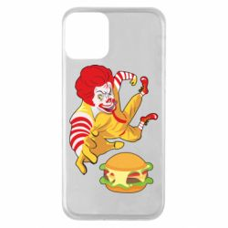 Чехол для iPhone 11 Clown in flight with a burger