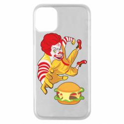 Чехол для iPhone 11 Pro Clown in flight with a burger