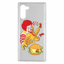 Чехол для Samsung Note 10 Clown in flight with a burger