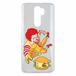Чехол для Xiaomi Redmi Note 8 Pro Clown in flight with a burger