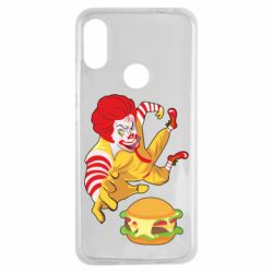 Чехол для Xiaomi Redmi Note 7 Clown in flight with a burger