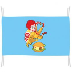 Флаг Clown in flight with a burger
