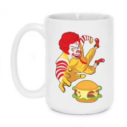 Кружка 420ml Clown in flight with a burger