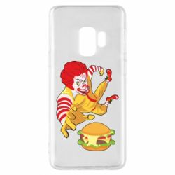 Чехол для Samsung S9 Clown in flight with a burger